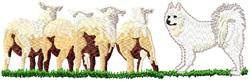 Samoyed Dog With 4 Sheep embroidery design