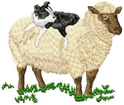 Dog on Sheep Back embroidery design