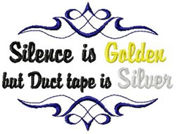 Silence is Golden embroidery design