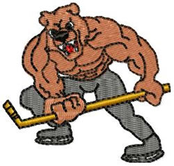 Hockey Bear embroidery design