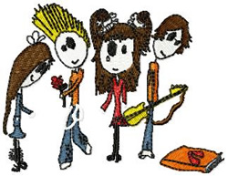 Stick Kid Rockers embroidery design