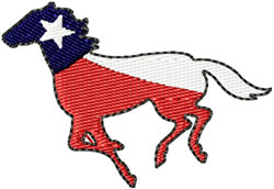 Texas Mustang Horse embroidery design