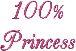 100% Princess embroidery design