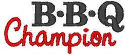 BBQ Champion embroidery design