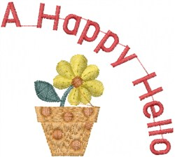 Happy Hello embroidery design