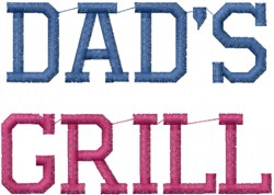 Dads Grill embroidery design