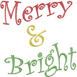 Wavy Merry & Bright embroidery design