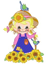 Fall Scarecrow Girl embroidery design
