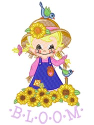 Fall Scarecrow & Sunflowers embroidery design