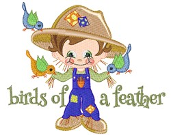 Fall Scarecrow & Birds embroidery design