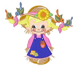 Adorable Scarecrow & Birds embroidery design