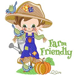 Scarecrow, Birds & Pumpkins! embroidery design