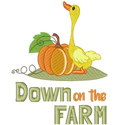 Adorable Duck & Pumpkin embroidery design