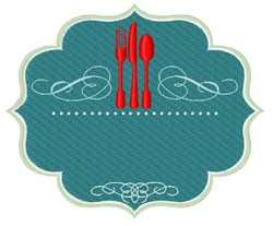 Decorative Frame & Silverwear embroidery design