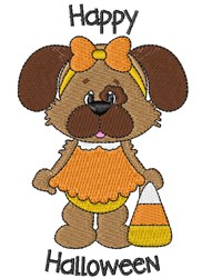 Halloween Puppy & Candycorn embroidery design
