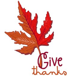Give Thanks Maple Leaf embroidery design