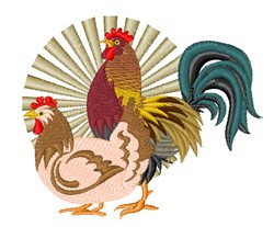 Pretty Hen & Rooster embroidery design