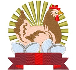 Country Chicken & Banner embroidery design