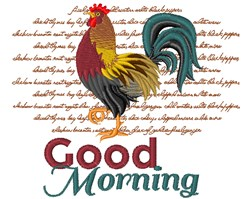 Good Morning Country Rooster embroidery design