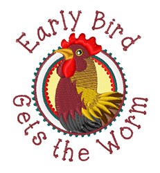Early Bird Country Rooster embroidery design