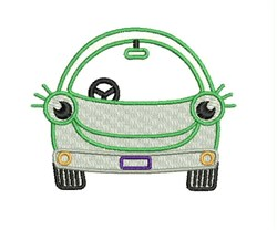 Smiley Car embroidery design