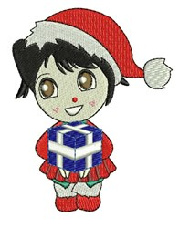 Girl & Gift embroidery design