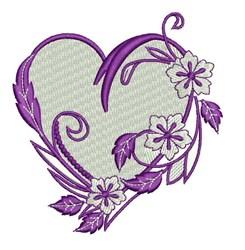 Floral Vine Heart embroidery design
