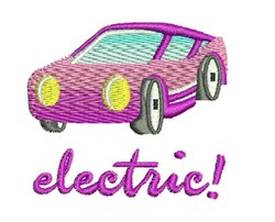 Electric Car embroidery design