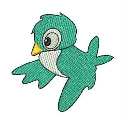 Teal Bird embroidery design