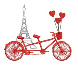 Paris Bicycle embroidery design
