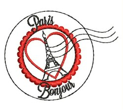 Paris Bonjour embroidery design