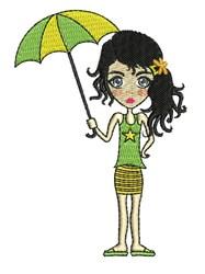 Umbrella Girl embroidery design