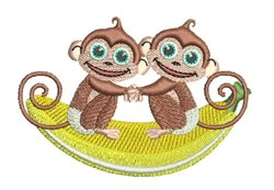 Pair Of Monkeys embroidery design