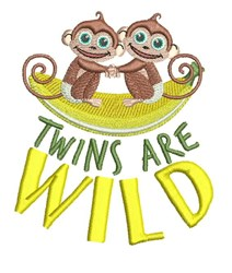 Twins Are Wild embroidery design