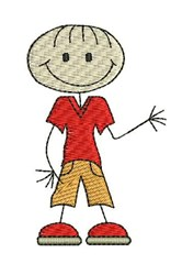 Boy Stick Figure embroidery design