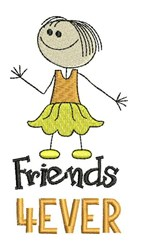 Friends 4 Ever embroidery design