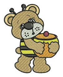 Honey Bee Bear embroidery design