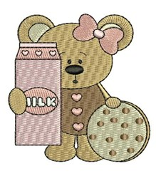 Milk & Cookie Teddy embroidery design
