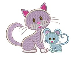 Kitty & Mouse embroidery design
