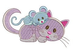 Mouse & Cat embroidery design
