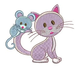 Mouse On Cat embroidery design