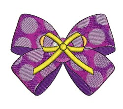 Yellow & Purple Bow embroidery design
