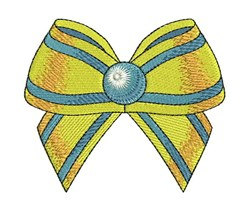 Blue & Yellow Bow embroidery design