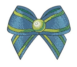 Blue Stipe Bow embroidery design