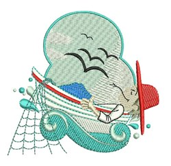Fisherman embroidery design