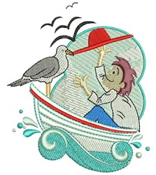 Seagull On Boat embroidery design