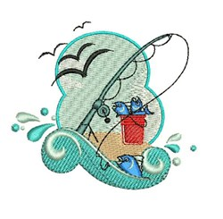 Fishing Wave embroidery design