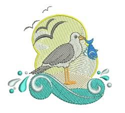 Seagull Fish embroidery design