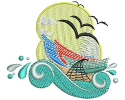 Fish Boat Wave embroidery design