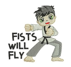 Fists Will Fly embroidery design